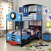 ACME Furniture 37530 Tobi Twin over Twin Bunk Bed, Twin/Twin, Blue Train