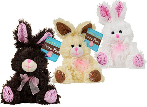 3 Small Chocolate-Scented Plush Stuffed Easter Bunny Rabbit Toy for Kids Boys Girls Baby Basket Bundle of 3 - Brown, Cream, (Stuffed Chocolate)