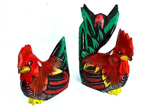 Set Wood Carved Rooster Hand Painted Folk Art Statue Chicken Shelf Sitter Rustic Wood Carved Folk Art