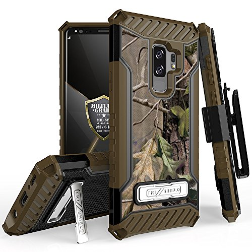Trishield Series for S9+ Case, Military Grade Rugged Cover + [Metal Kickstand] + [ Belt Clip Holster ] for Samsung Galaxy S9 Plus (2018) - Printed Hunter Tree Outdoors Camo