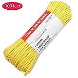 BENGKU Outdoor Survival Mil-SPEC 550lb Paracord/Parachute Cord(MIl-C-5040-H),100Feet,100% Nylon. (Yellow, 100.00)