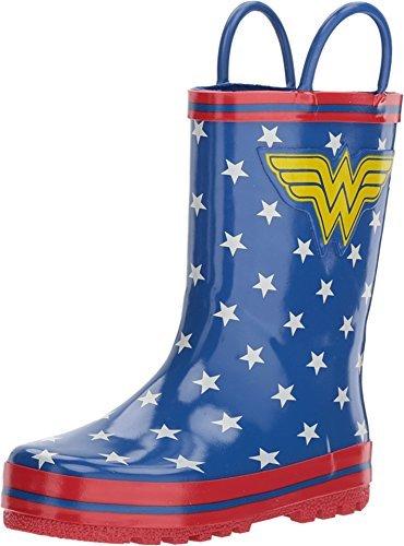 (Girl's Wonder Woman Rain Boots (Toddler/Little Kid) Blue)