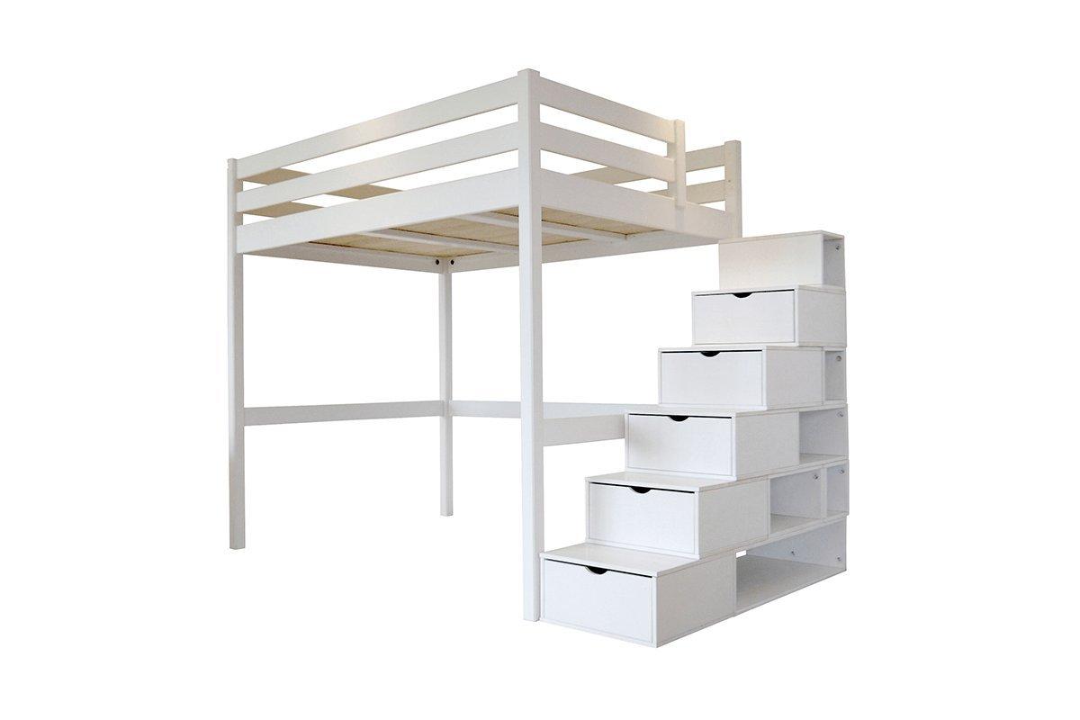 Hochbett Holz Weiß 140x200 : Abc meubles hochbett sylvia mit treppenregal holz cube weiß