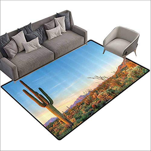 Long Kitchen Mat Bath Carpet Saguaro Cactus Decor,Sun Goes Down in Desert Prickly-pear Cactus Southwest Texas National Park,Orange Blue Green 80