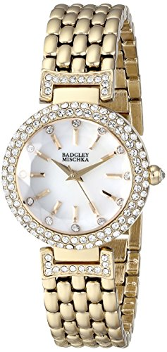 Badgley Mischka Women's BA/1344WMGB Swarovski Crystal-Accented Gold-Tone Bracelet Watch