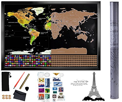 "Scratch off World Map 32""x23"" Size Gold and Black World Map"