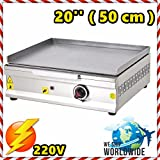 20 '' ( 50 cm ) Commercial Kitchen Equipment Electric Countertop Flat Top Restaurant Grill Stove Cooktop Manual Griddle 220V