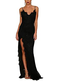 BeneGreat Womens Spaghetti Strappy V Neckline Split Long Floral Lace Formal Wedding Party Dress Evening Gowns