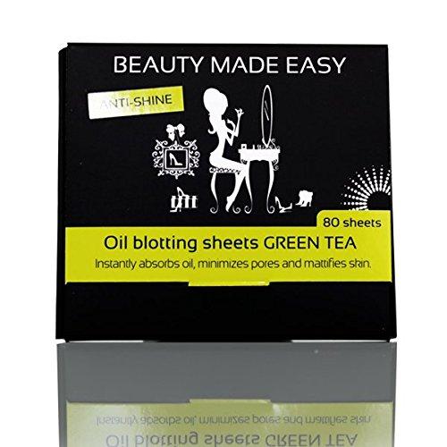 Kosmetisches Puderpapier zur Mattierung der T-Zone von Beauty Made Easy 80 Stück Löschpapier (GRÜNTEE)