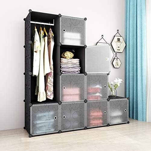 SIMPDIY Armadio Portatile Armadio di plastica 8+1 Cubi 108x36x144cm Grande capacit/à Organizzatore di scatole di immagazzinaggio di Vestiti