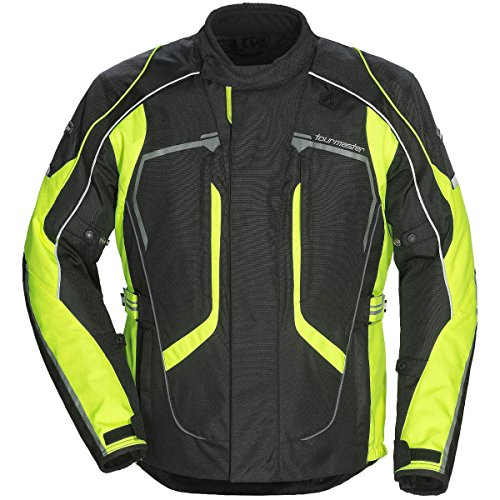 Tour Master Advanced Men's Textile Sports Bike Racing Motorcycle Jacket - Black/Hi-Viz/Large