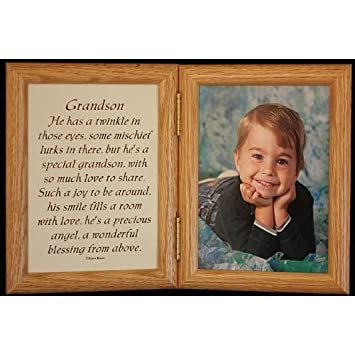 5x7 hinged grandson poem oak picture photo frame gift for grandparents grandpa or grandma