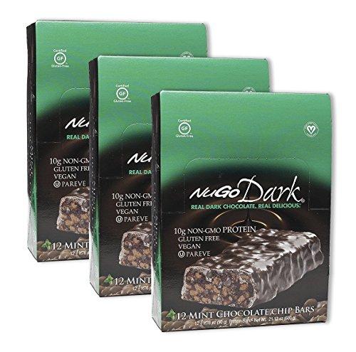 NuGo Dark Mint Chocolate Chip 12 Bars (3 Pack)