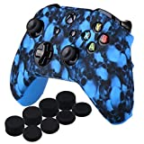 Cheap YoRHa Water Transfer Printing Skull Silicone Cover Skin Case for Microsoft Xbox One X & Xbox One S controller x 1(blue) With PRO thumb grips x 8