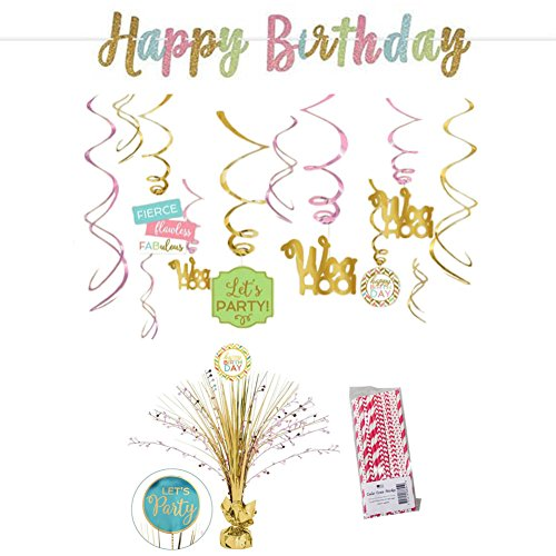 Cedar Crate Market Confetti Fun Birthday Decorations Party Supplies Pack: Straws, Banner, Centerpiece and Hanging Swirls (Confetti Fun)