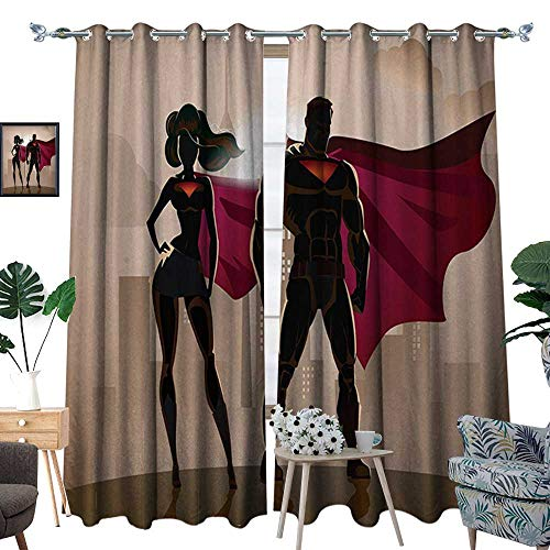 RenteriaDecor Superhero Window Curtain Fabric Super Woman and Man Heroes in City Solving Crime Hot Couple in Costume Drapes for Living Room W72 x L96 Beige Brown Magenta -