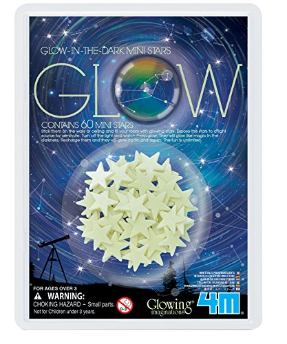 4M Glow-In-The-Dark Mini Stars Pack of 60 - Room Décor For Kids