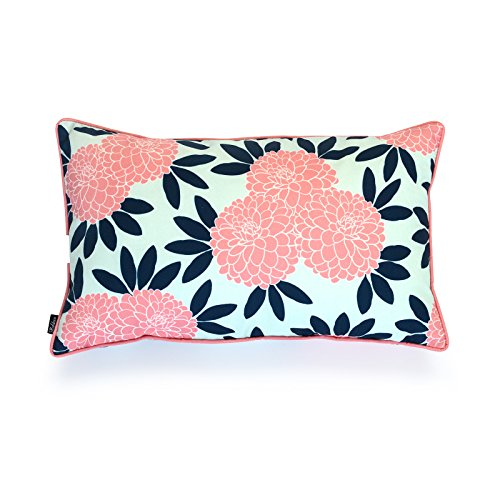 Spring Floral Pillow - Hofdeco Decorative Lumbar Pillow Cover Indoor Outdoor Water Resistant Canvas Spring Navy Pink Chinoiserie Floral 12