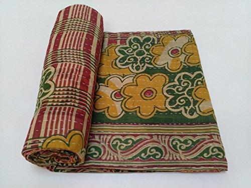 Vintage Kantha Quilt Indian Handmade Cotton Bedspread Natural Throw Bedding