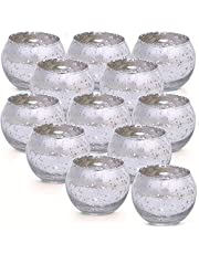 Votive Candle Holders, Set of 12, Mercury Glass Tealight Candle Holder , Perfect Centerpieces for Wedding, Party, Home Decor
