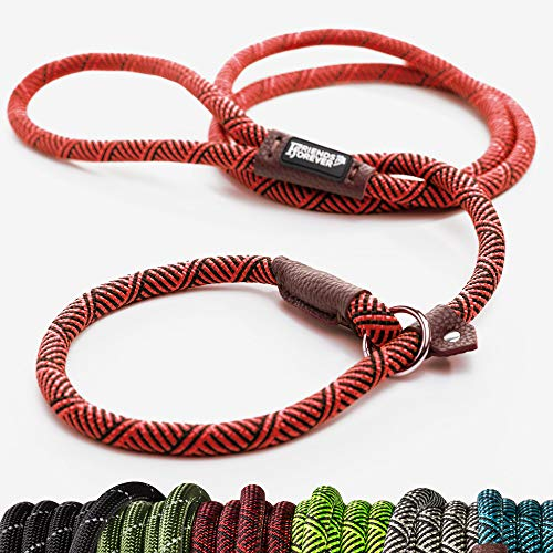 Friends Forever Extremely Durable Dog Rope Leash, Premium Quality Mountain Climbing Rope Lead, Strong, Sturdy Comfortable Leash Supports The Strongest Pulling Large Medium Dogs 6 feet, Red