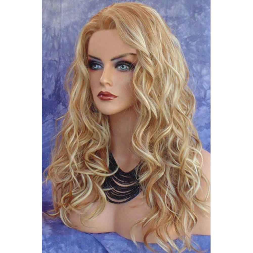 SHUAIGE Long Curly Hair Lady Wig golden Dyed Wave Volume Temperament Wedding Party High Temperature Silk pink Inner Net Synthetic Full Wig