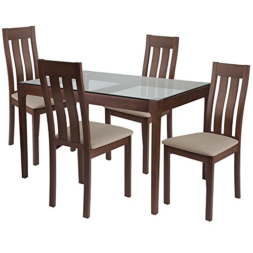 Belvedere 5 Piece Walnut Wood Dining Table Set with Glass Top and Vertical Slat Back Wood Dining Chairs - Padded Seats [ES-112-GG] (Slat Piece 5 Back)
