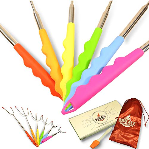 Marshmallow Roasting Sticks w Colorful Silicone Handles for Kids, Fire Pit, Campfire, Bonfire, Fireplace | 6 Extra Long Extendable Fork Skewers | SMORE, Hot Dog, Sausage, BBQ, Grilling, Camping ()