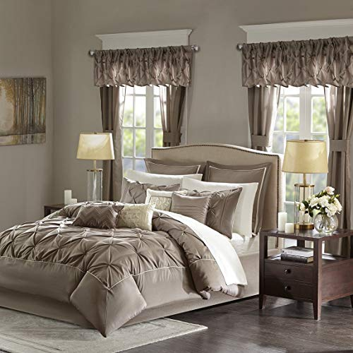24 Pc Taupe, Beautiful Comforter Set King Size, Master Bedroom – Beautiful comforters for Your Bedroom Decor, 100% Polyester