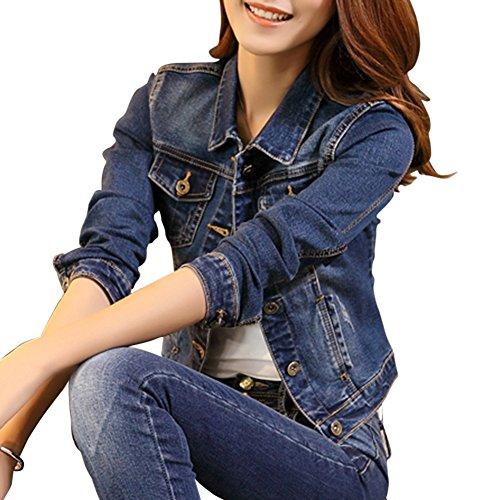 Jacket Jackets Azul De Mezclilla Denim Chaquetas Fit Slim Corto Mujer Abrigo Vaquera Para Larga Cazadora Manga q5H1ZxBwvn