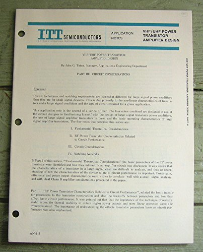 ITT Semiconductors. Application Notes VHF/UHF Power Transistor Amplifier Design.
