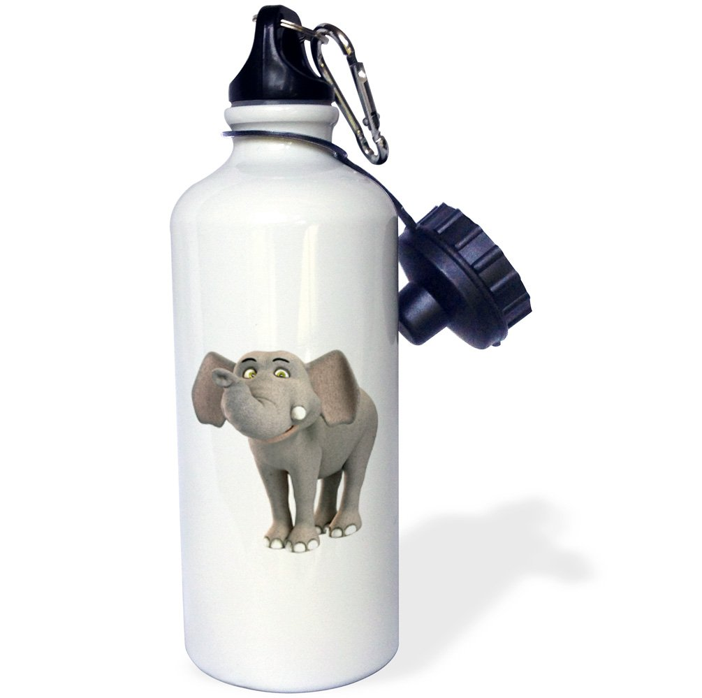3dRose wb/_180999/_1 A Baby Cartoon Elephant Smiling Sports Water Bottle 21 oz Multicolor
