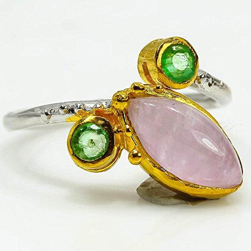 Gold And Emerald Cabochon Ring (Natural Lavender amethyst 7.5 Silver Handmade ring)