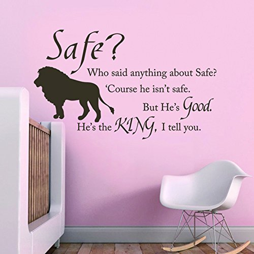 MairGwall Nursery Wall Decal Chronicles of Narnia Aslan Safe Wall Quote - He's the King - Kids Room Decal Classroom Sticker (Black, Medium) ()