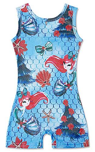 Little Girls Fashion Funny Gymnastics Leotards Pretty Mermaid Fish Scale Pattern 6-7 Years Dance Ballet BodySuits Sparkly Unitard Biketard for Nieces Granddaughter Birthday Gift Present -
