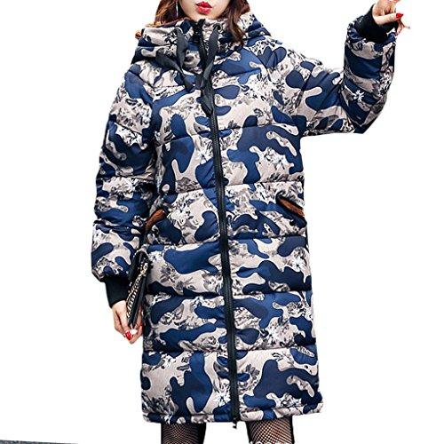 恐怖症組み合わせ漏れ[美しいです] レディース コート フード付き ひざ丈 かわいいみみ 冬 軽量 厚手 防寒 防風 カジュアル ダウンコート 保温性 迷彩