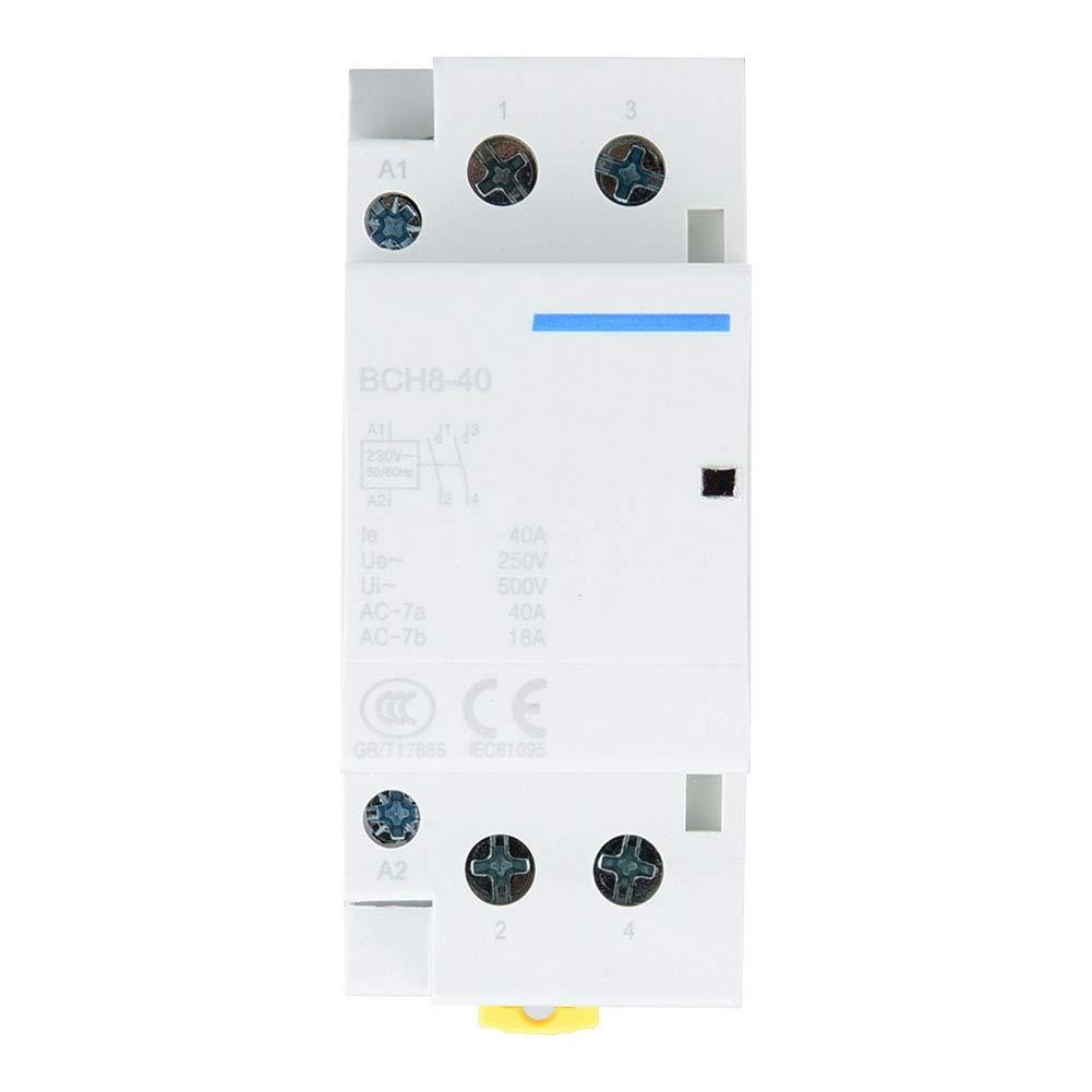 Contactor de AC 40A 2 polos, Contactor de corriente alterna de carril DIN 1NO1NC 50 / 60HZ (24V)