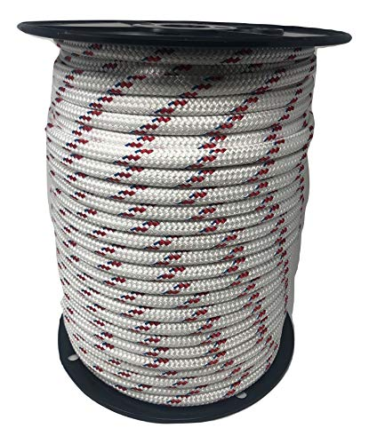 Yacht Braid Polyester Rope 7/16 inch, White Red (300) ()