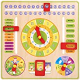 Yosoo- Wooden Clock Toy All About Today, Learn about Time, Days, Dates, Months, Weather and Seasons
