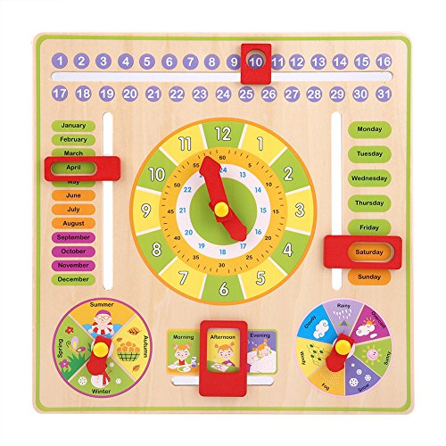 FTVOGUE Wooden Teaching Clock Toy Kids Early Educational Multifunctional Time Date Season Weather Game Toys for Baby Boys irls ()