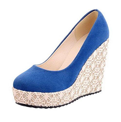 Couleur À Haut Unie Agoolar Dépolissement Femme Rond Chaussures Bleu Talon Légeres Tire UxwanqFq