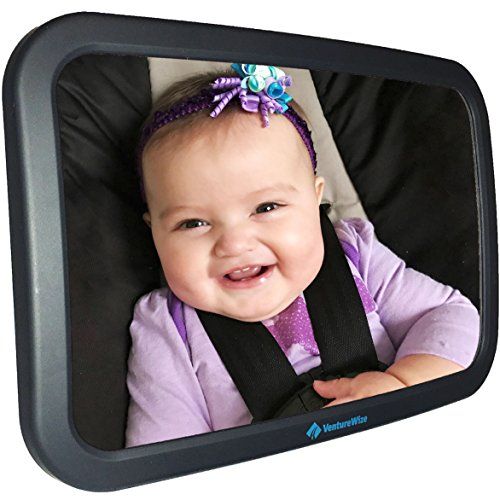 Baby Backseat Car Safety Mirror, Largest High Quality Shatterproof Clear Reflection, Wide View of Rear Facing Back Seat Infant, Child Safe, Adjustable, Perfect Shower Gift for Mom by VentureWize from VentureWize