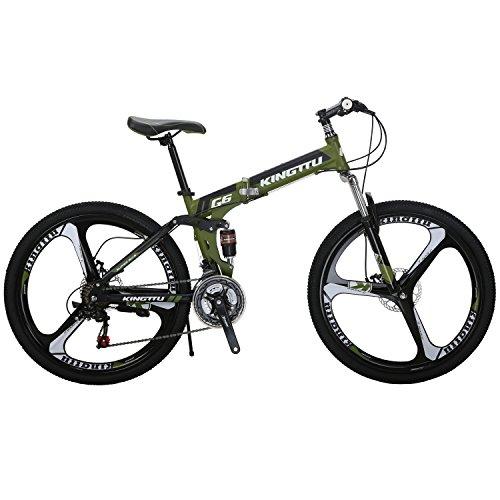 Kingttu G6 Mountain Bike 26 Inches 3 Spoke Wheels Dual Suspension Folding Bike 21 Speed MTB Amygreen 2018 Folding Mountain Bike