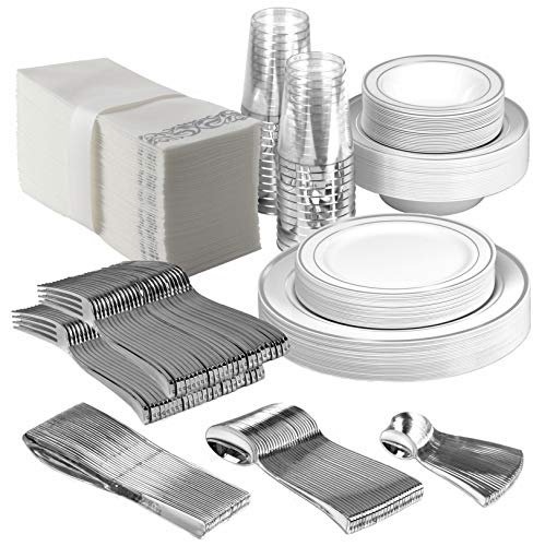 25 Guest Disposable Silver Dinnerware Set | Heavy Duty Plastic Plates, Cups, Silverware & Napkins. 50 Forks, 25 Spoons, 25 Dessert Spoons, 25 Knives, 25 Dinner Plates, 25 Dessert Plates, 25 Soup Bowls ()