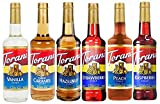 Torani syrup best sellers, Vanilla, Caramel, Hazelnut, Raspberry, Strawberry And Peach, 6 Pack (25.4 Ounce Each) For Flavoring Coffee, Latte, Smoothies, Ices and Much More