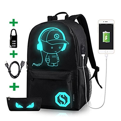 Luminous School Backpack,Horsky Anime Cartoon Music Boy Lightweight Shoulder Laptop Travel Bag Daypack College Bookbag Night Light for Unisex Students with USB Charging Port,Lock and Pencil Case 35 L -  LP002