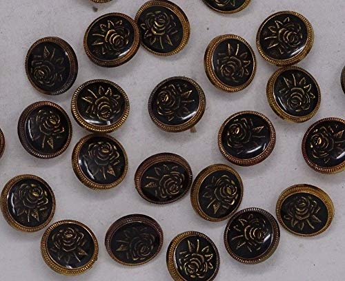 JumpingLight Vintage Black Gold Rose Floral Goth Shank Buttons 17mm Lot of 5 C501 Perfect for Crafts, Scrap-Booking, Jewelry, Projects, ()
