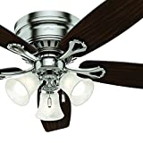 Cheap Hunter 52 inch Brushed Nickel Finish Casual Ceiling Fan with Light Kit (Certified Refurbished)