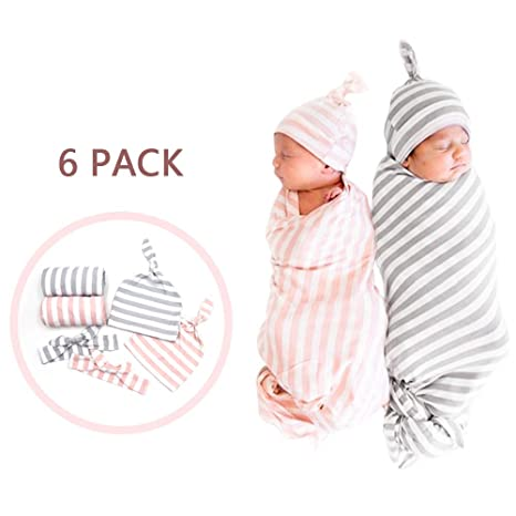 Large 3-6 Months Baby Swaddle and Headband Set-Soft and Adjustable Pure Cotton Baby Swaddle Wrap Blanket /& Baby Headband-Perfect Baby Shower Gift for Newborns ,Watermelon