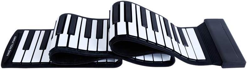 ハンドロールピアノ、ロールアップピアノ、ポータブル折り畳み式の88キーの柔軟な柔らかいシリコーン電子音楽キーボードピアノ